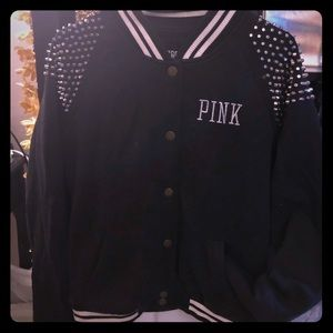 Rare vs pink studded fashion show varsity jacket